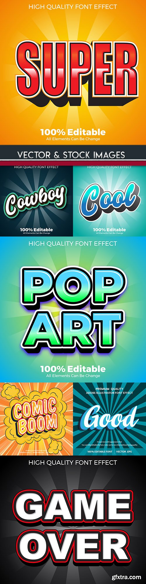 Vintage retro and pop art text effect lettering template