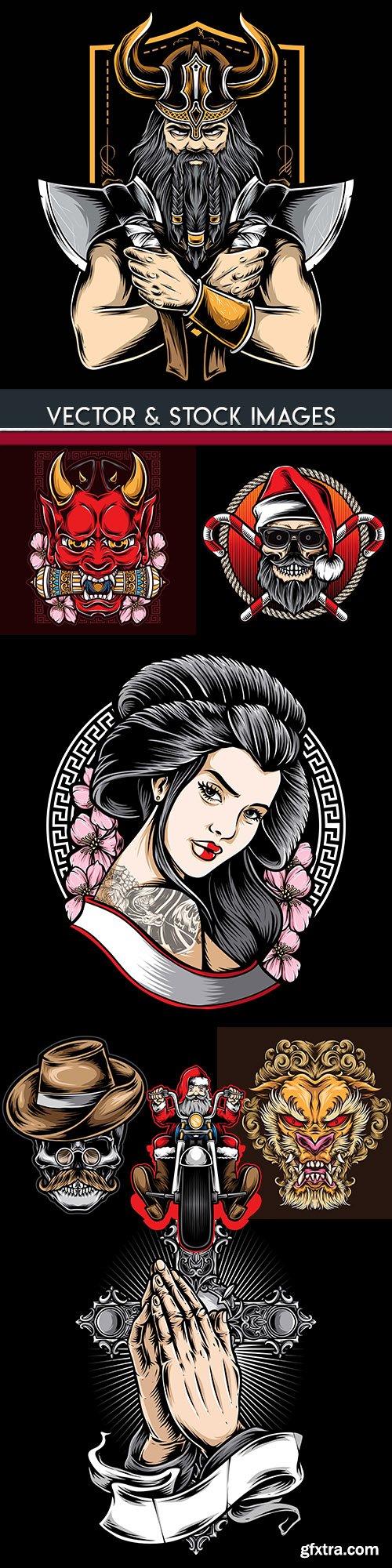 Tattoo and logo cartoon drawing design illuminations