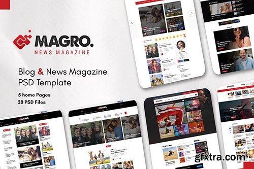 Magro - Blog & News Magazine PSD Template