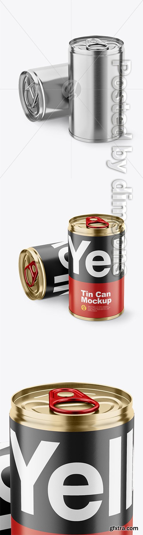 Two Tin Cans w/ Pull Tab Mockup 49297