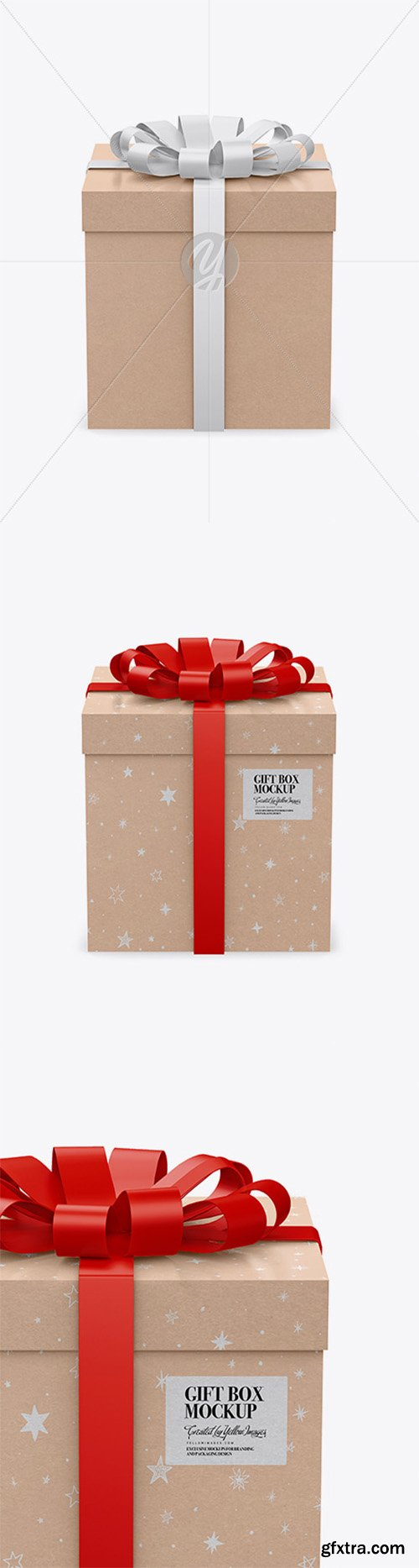 Kraft Paper Gift Box With Glossy Bow Mockup 50004
