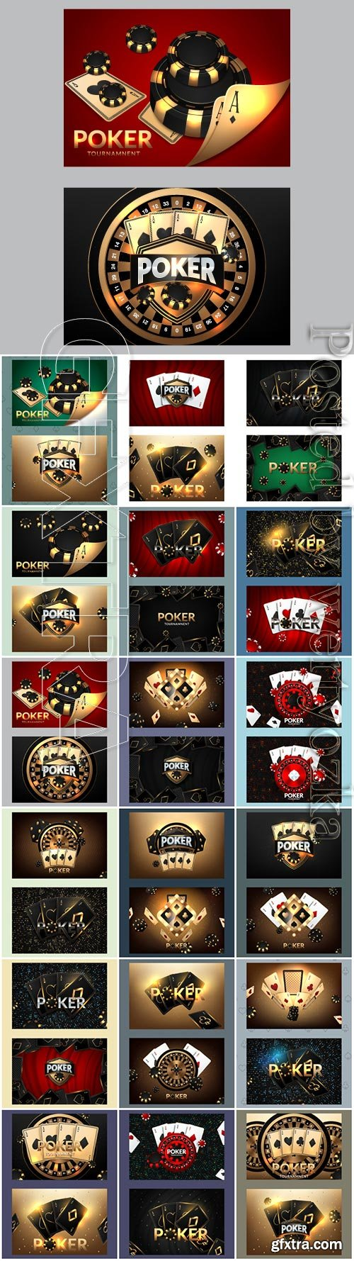 Casino poster with playing cards and poker chips