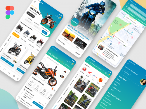 Bike Portal or Find Bike Store Mobile App Mockup design - bike-portal-or-find-bike-store-mobile-app-mockup-design