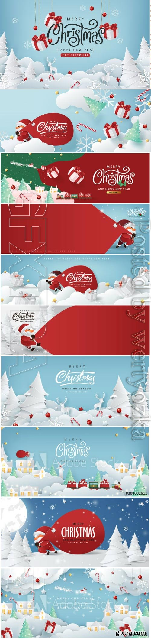 Christmas composition in paper, Santa Claus, christmas gifts