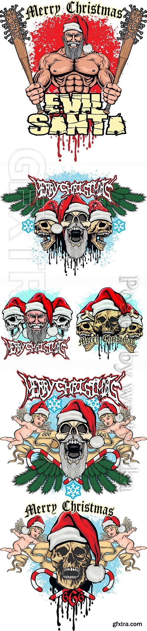 Xmas sign with skull and Santa Claus, grunge vintage design