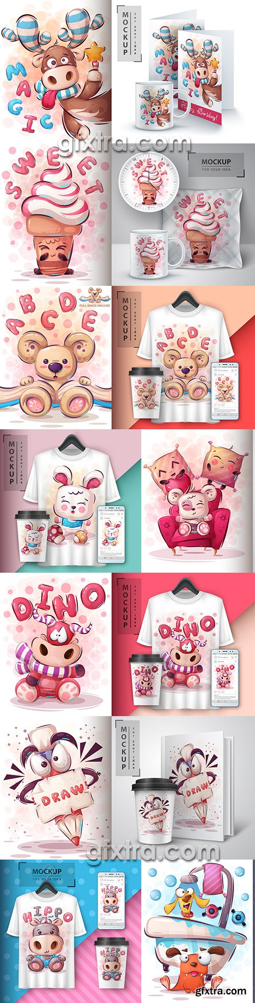 Design 3d t-shirts with mult funny characters 3