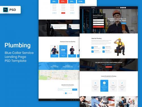 Blue Collar Service Landing Page PSD Template - blue-collar-service-landing-page-psd-template