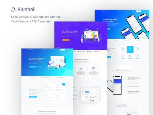 Bluebell Software, SaaS, Web App & Startup Tech - bluebell-software-saas-web-app-startup-tech-psd-template