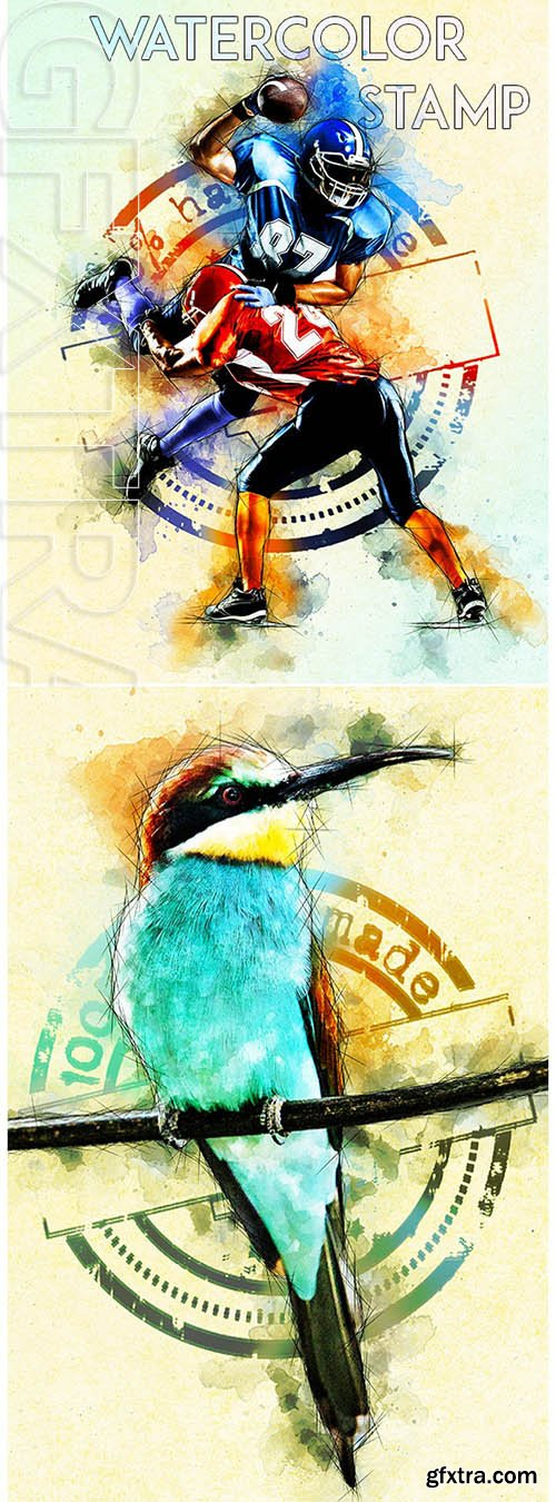 GraphicRiver - Watercolor Stamp Photoshop Action 25015853