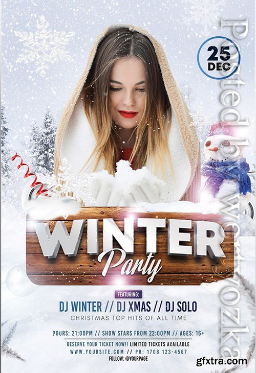 Winter party - Premium flyer psd template