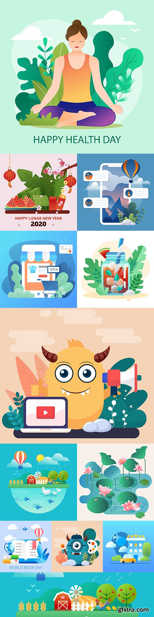 Lifestyle and technology collection flat design illustration