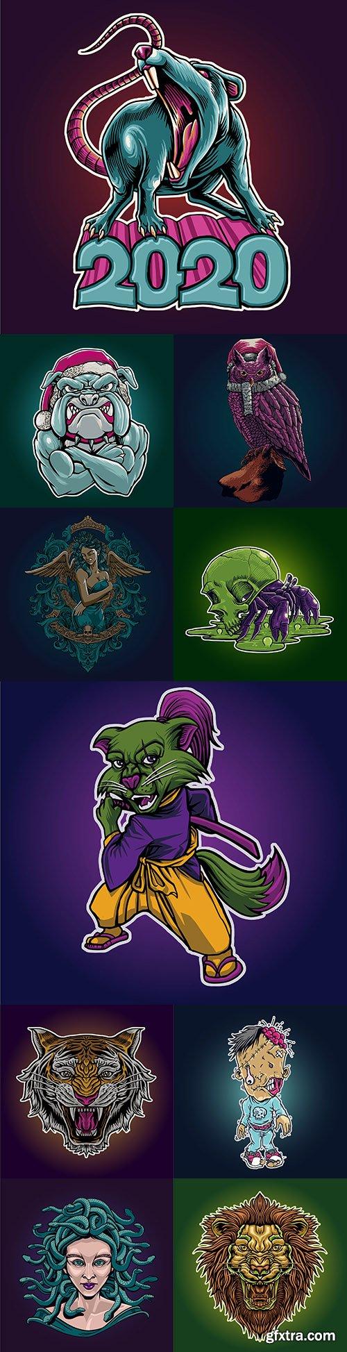 Tattoo and emblem cartoon drawing design illustration 2