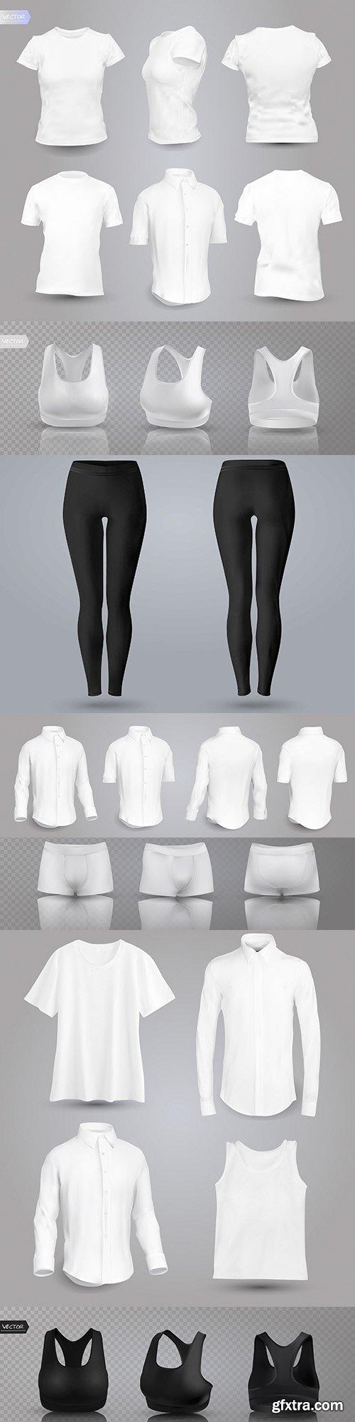 T-shirt, shirt and sports linen 3D illustration