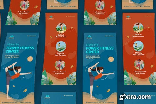 Sport Activities DL Rackcard Illustration Template