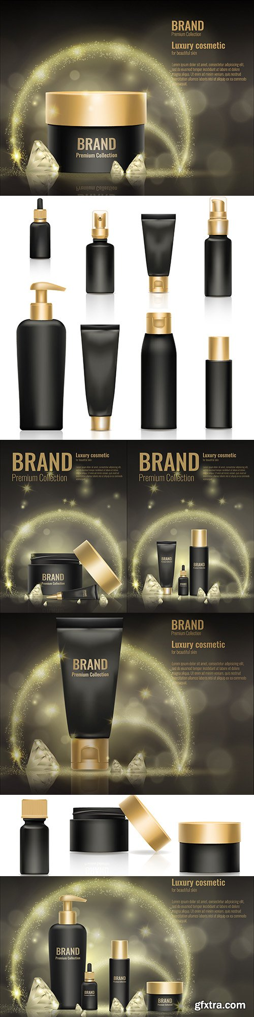 Cosmetic gold luxury realistic product template