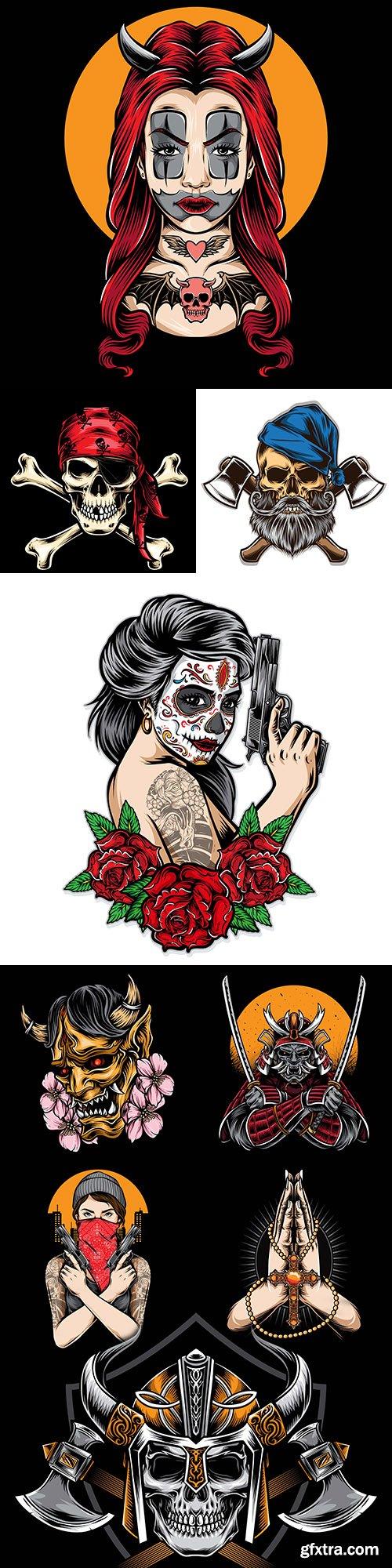 Tattoo and logo cartoon drawing design illustration 3