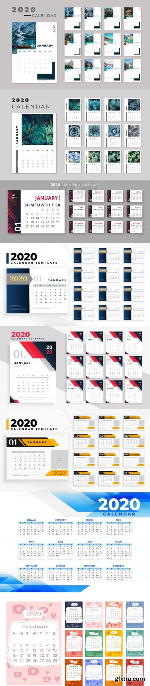 2020 Calendars Vector Collection 1