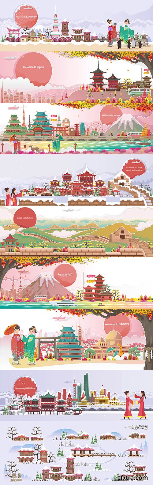 Japanese landscape and panoramic composition