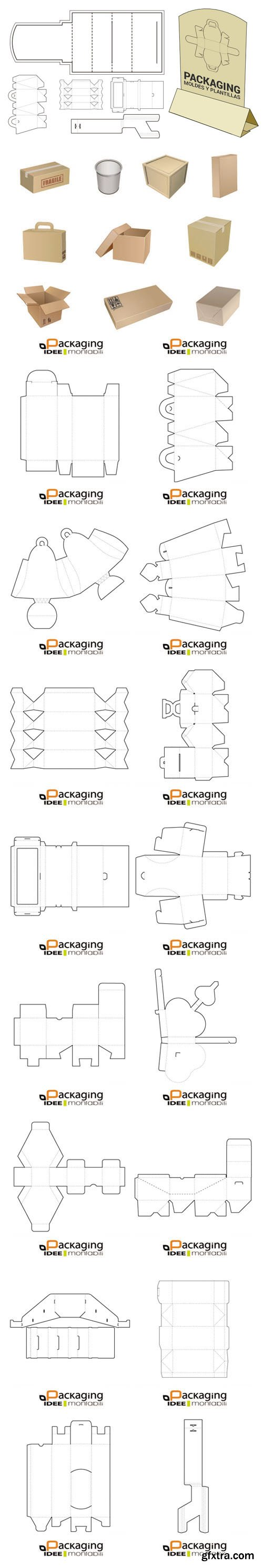 35 Packaging Molds and Templates in Vector
