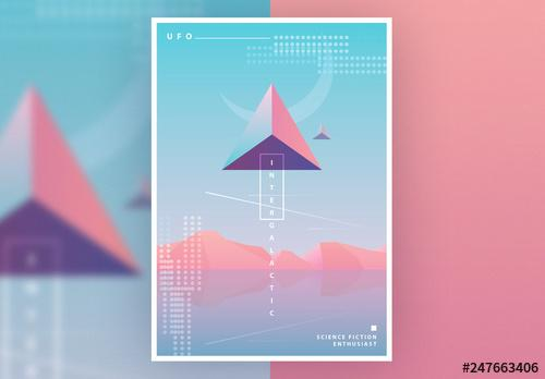 SciFi Poster Layout with Pastel Gradients - 247663406 - 247663406