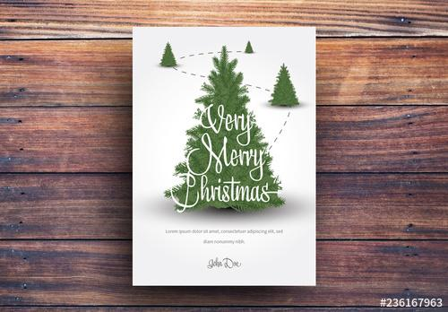 Christmas Card Layout with Christmas Trees - 236167963 - 236167963
