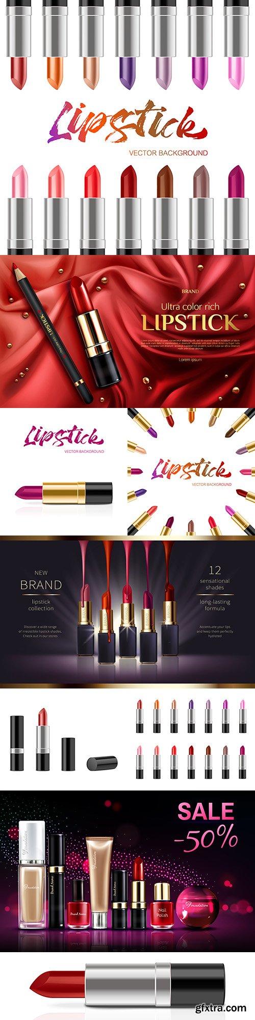 Lipstick cosmetics product banner design 3d illustration