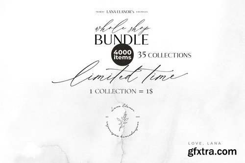 CM - BUNDLE Whole Shop watercolor & design - 3980588