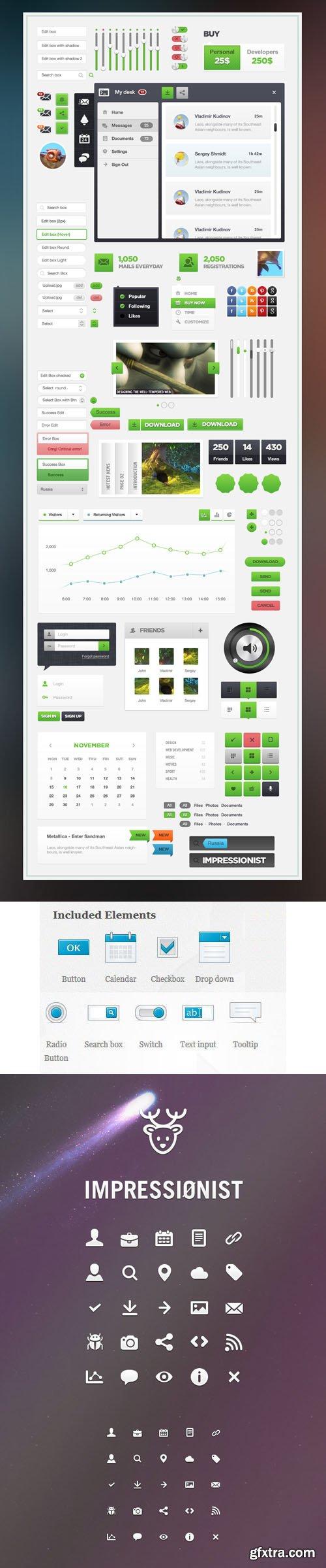 Impressionist UI Pack in PSD