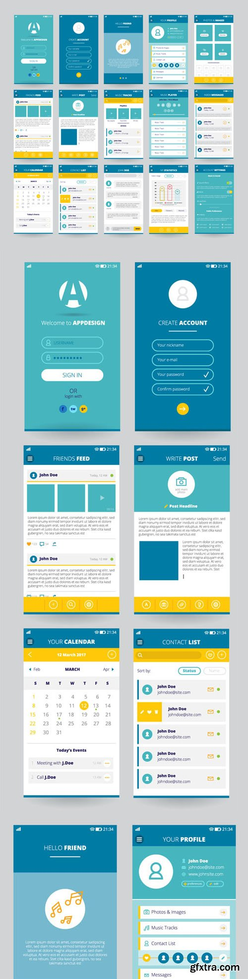 Mobile Screens with UI Apps in Vector