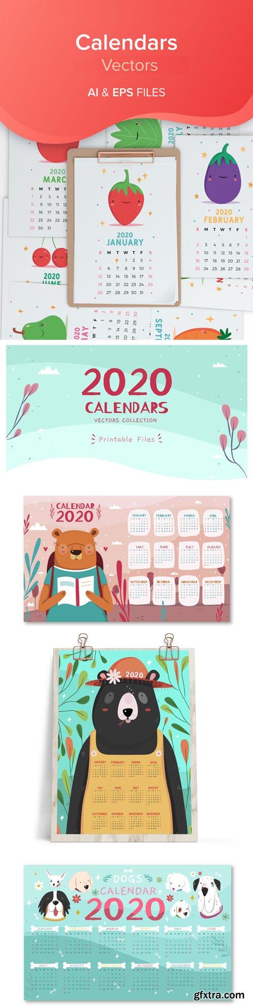 2020 Calendars Vector Collection 2