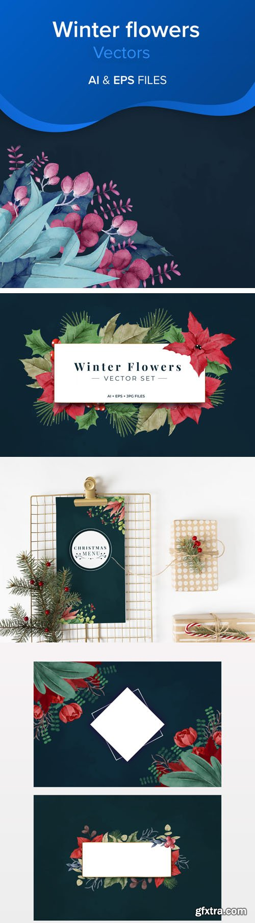 Decorative Winter Flowers Vector Set Collection