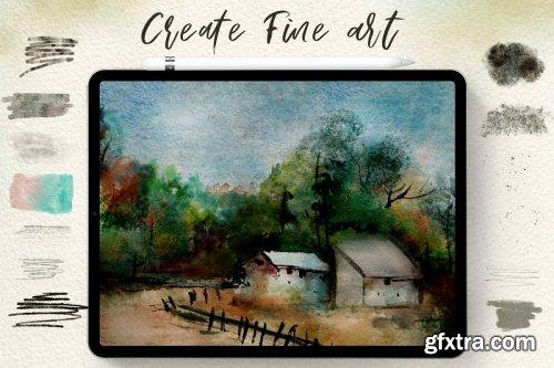 CreativeMarket - 75 Procreate Watercolor Brush Bundle 4313003