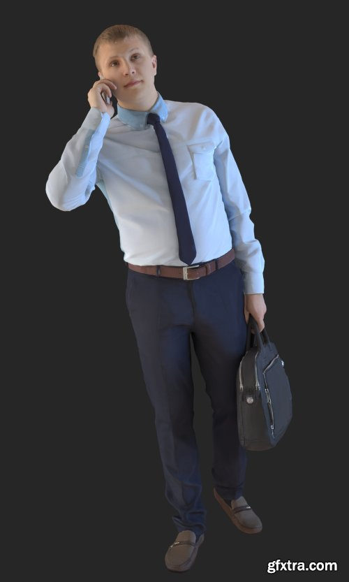 Business Man Talking to Cellphone 3d model