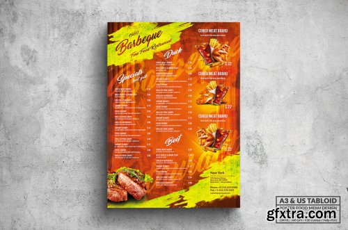 BBQ & Grill Poster Food Menu - A3 & US Tabloid