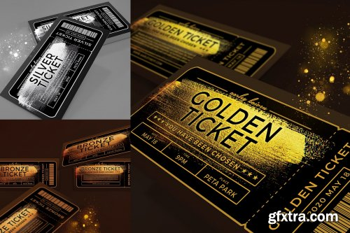Multipurpose Golden Ticket Invitation