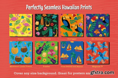 CM Tiki and Hawaiian Seamless Patterns 63799