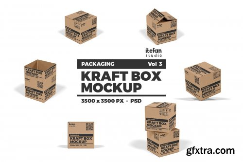 CreativeMarket - Kraft Box Mockup - Packaging Vol 3 4377843