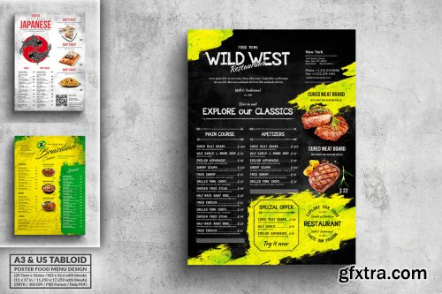 Vintage Poster Food Menu Bundle - A3 & US Tabloid