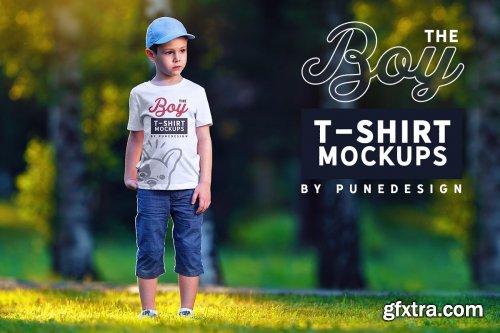CreativeMarket - Boy T-Shirt Mock-Up Set 2 4345778