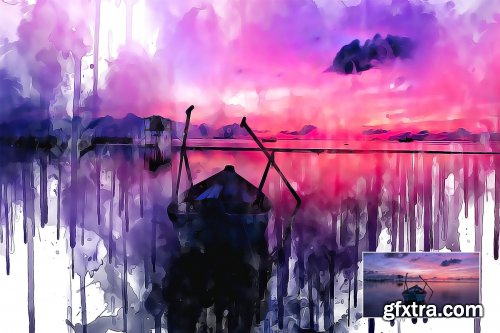 CreativeMarket - Watercolor Ink Painting PS Action 4306303