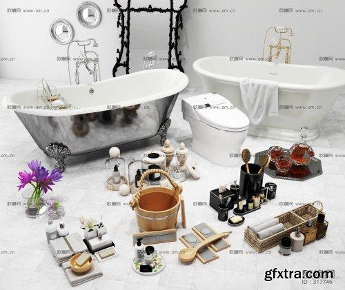 Modern bathtub toilet towel soap toiletry set 3D model