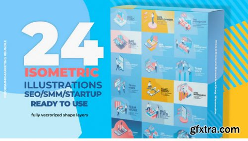 24 Isometric SEO & SMM Illustration Pack - After Effects 345165