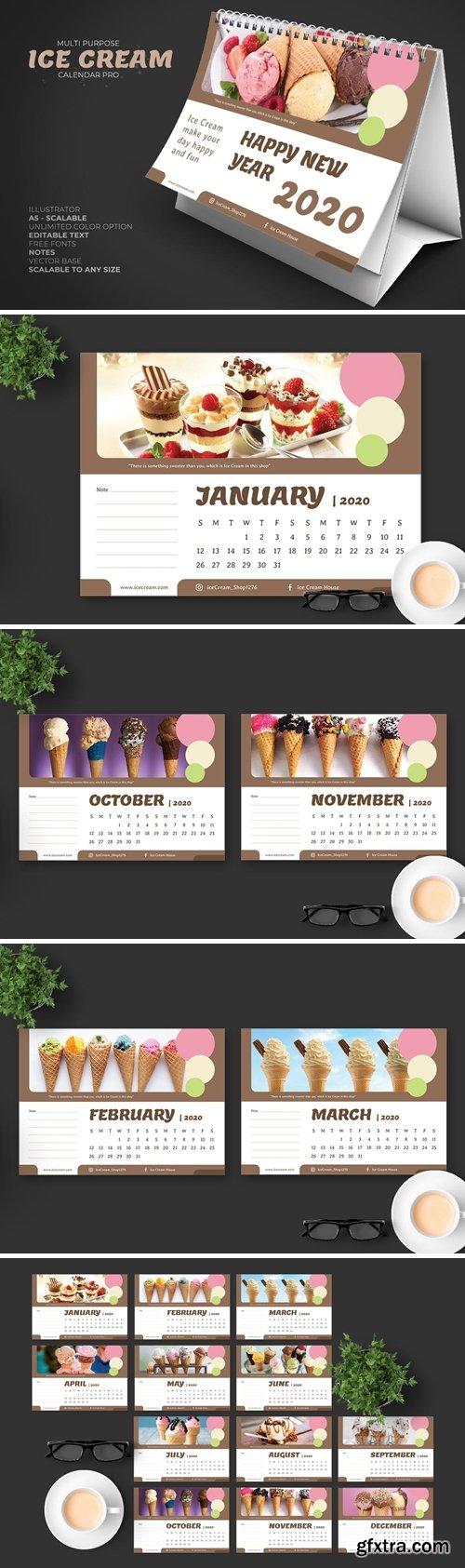 2020 Ice Cream/Food Store Calendar Desk Pro