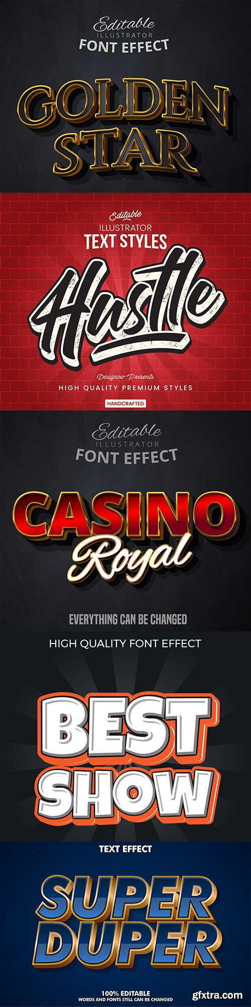 3d font effect style collection illustration 5
