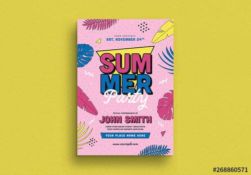 90's Summer Party Flyer Layout - 268860571 - 268860571
