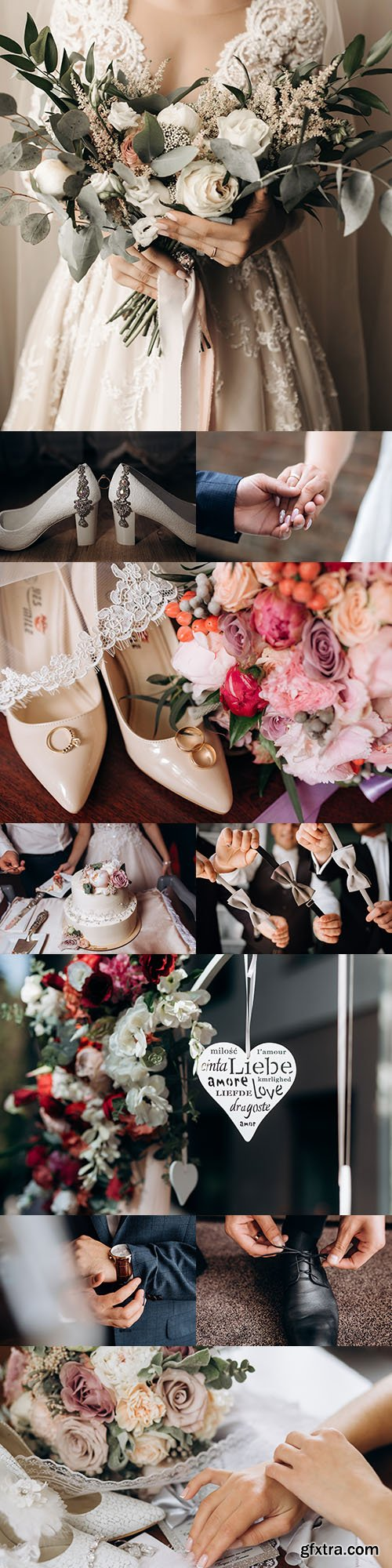 Bride's wedding bouquet, shoes and clothing attributes