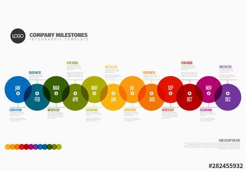 Full Year Rainbow Timeline Info Chart Layout - 282455932 - 282455932