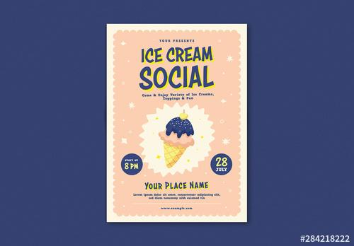 Event Flyer Layout with Illustrative Ice Cream - 284218222 - 284218222