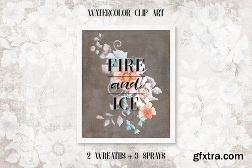 Fire and Ice Watercolor Wreaths and Sprays