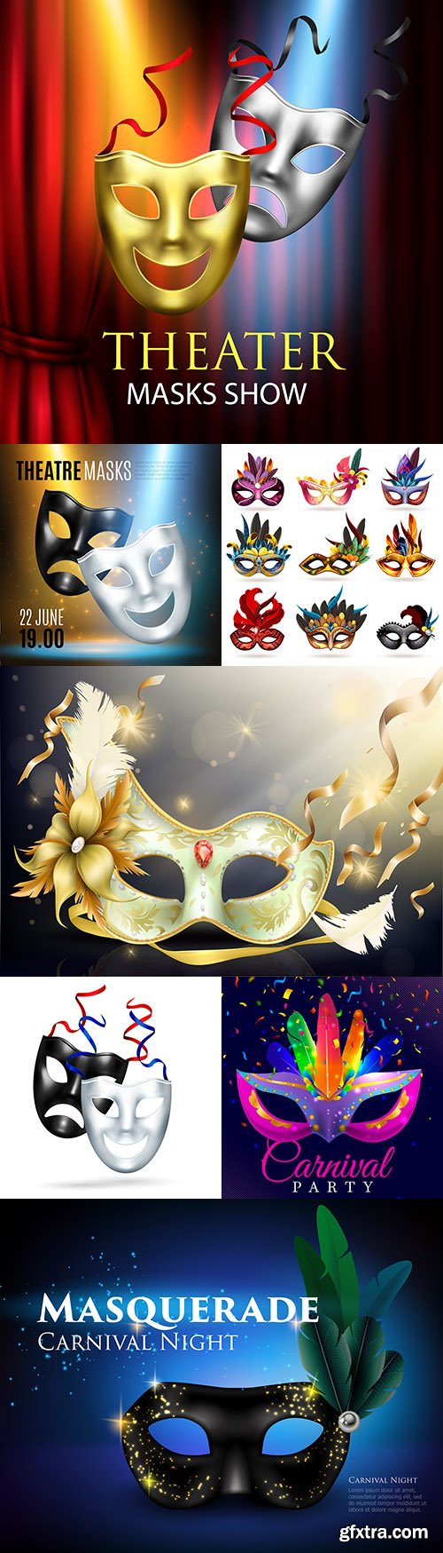 Decorative theatrical and carnival face mask design